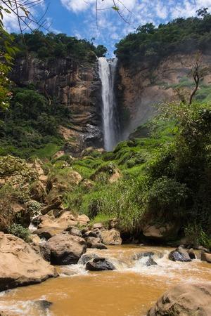 conde: Big Cascata Conde Deu Waterfall in Sumidouro, Rio de Janeiro, Brazil Stock Photo