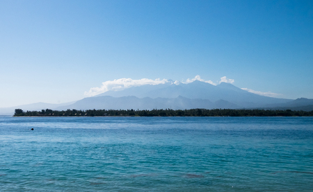 Arriving by boat in Gili islands, Lombok Indonesia Stock Photo