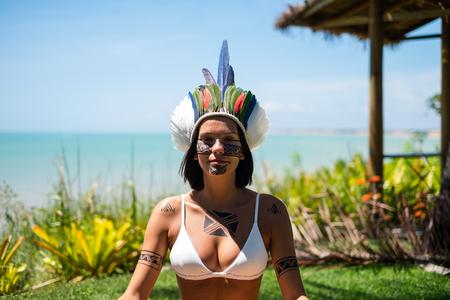 Beautiful young indigenous Pataxo woman in Bahia, Brazil Stock Photo
