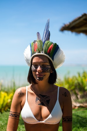 Beautiful young indigenous Pataxo woman in Bahia, Brazil Stock Photo