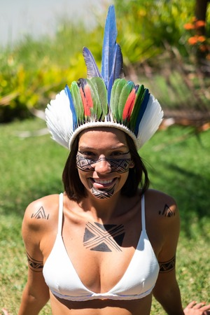 Beautiful young indigenous Pataxo woman in Bahia, Brazil Banco de Imagens