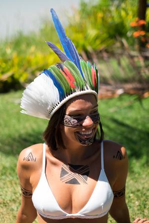 Beautiful young indigenous Pataxo woman in Bahia, Brazil Reklamní fotografie