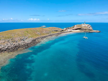 Beautiful aerial drone view of Abrolhos, Bahia, Brazil
