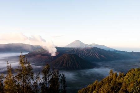 Beautiful sunrise in active Mount Bromo, Java, Indonesia Stock Photo