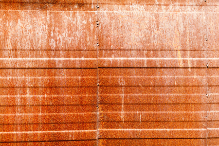 Rusty metal wall background with horizontal lines Stock Photo