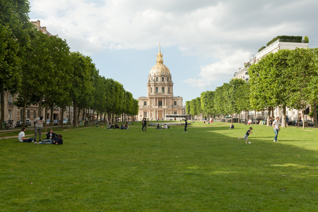 Paris, France 02 June 2018. Gardens, palace and dome forming the Esplanade des Invalides in Paris. Known as the City of Light, is one of the most awesome world cultural center. Northern France Editorial