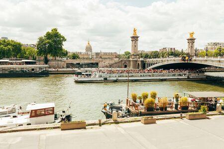 Paris France02 June 2018: Pont Alexandre III bridgeThe most ornate, extravagant bridge in Paris. Editorial