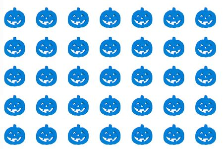 Blue halloween pumpkins on the white background Isolated. paper for wrapping