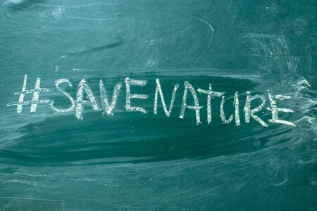 Save the nature hashtag it handwritten with white chalk on a green blackboard Motivation concept