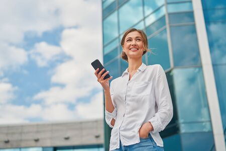business woman middle age with mobile phone