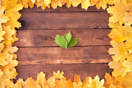 Autumn leaves frame on wooden background top view Fall Border yellow and Orange Leaves vintage wood table Copy space for text Foto de archivo