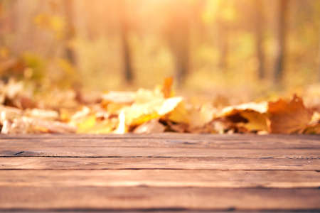 Empty wooden table autumn maple leaves nature bokeh background with a country outdoor theme, Template mock up for display of product Copy space