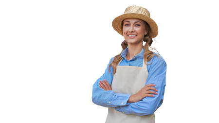 Woman dressed apron white background Farmer agricultural Caucasian middle age Female business owner in uniform hands crossed Happy one person smiling Time to advertise Concept web banner 스톡 콘텐츠