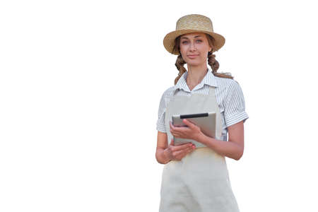 Woman dressed apron with digital tablet isolated white background Farmer agricultural Caucasian middle age Female business owner Happy one person smiling Time to advertise Concept web banner