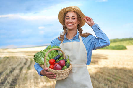 Woman farmer straw hat holding basket vegetable onion tomato salad cucumber standing farmland smiling Female agronomist specialist farming agribusiness Happy Girl dressed apron cultivated wheat field