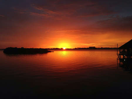 Sunset over the lagoon in Cancun