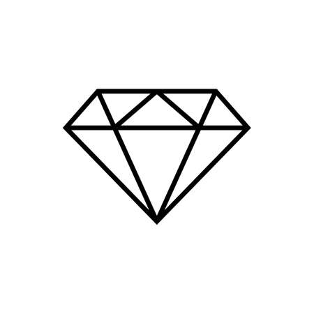 Diamond icon vector. Diamond line icon. Gemstone symbol