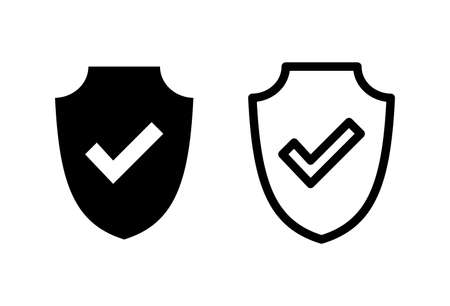 Shield check mark  icon set. Protection approve sign. Safe icon vector  イラスト・ベクター素材