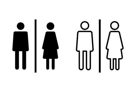 Toilet icon set. restrooms icon vector. bathroom sign. wc, lavatory Ilustración de vector