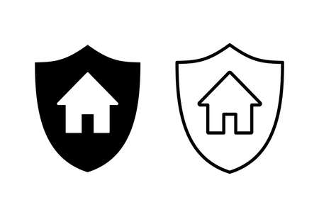 home insurance icon set. home protection icon  イラスト・ベクター素材