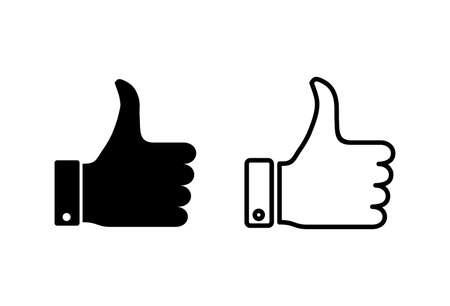 Thumbs up icon set. Hand like. Like icon vector. Ilustração