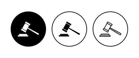 Gavel icon set. judge gavel icon vector. law icon vector. auction hammer