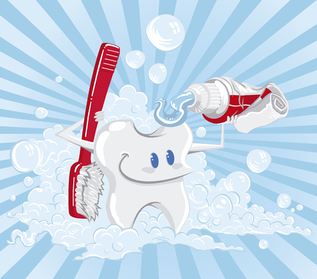 Tooth giving a shower with a toothbrush, and a toothpaste. Foam and lines in the background. 일러스트