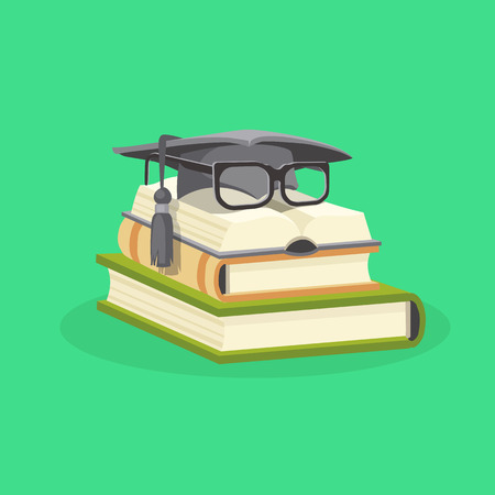 Educational study books stacked and on them a graduation cap and student glasses. Study and education flat design concept. Vector illustration.