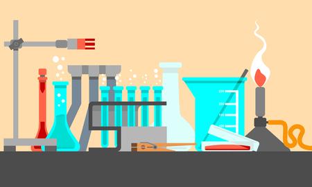 Materiales y herramientas científicas y de laboratorio en la composición de Still Life. Concepto de diseño plano. Vector conjunto de ilustración. Foto de archivo - 90357811