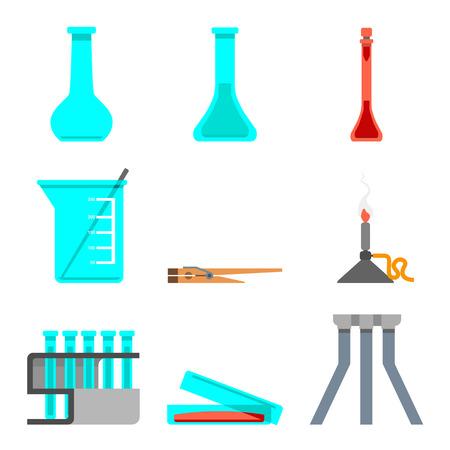 Insieme scientifico di materiali e strumenti di laboratorio. Concetto di design piatto. Illustrazione vettoriale Archivio Fotografico - 91286220