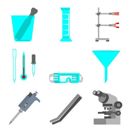 Conjunto científico de materiales y herramientas de laboratorio. Concepto de diseño plano. Ilustración vectorial Foto de archivo - 91286221