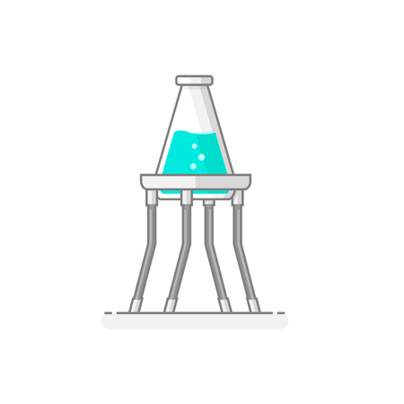 Scientific Tripod with erlenmeyer flask containing chemical liquid - Laboratory materials and glassware icon 9. Flat design concept. Vector illustration. Illustration
