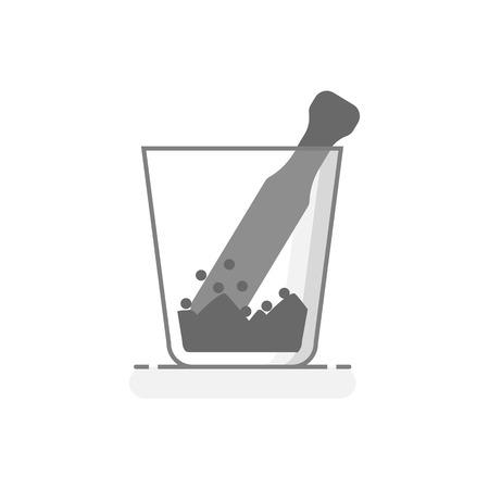 Scientific Glass Mortar - Laboratory glassware icon 11 - Flat design concept. Vector illustration. Foto de archivo - 91689966