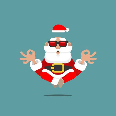 Older Santa Claus in meditation levitating in the air with sunglasses in a relaxing mental position of Yoga symbolizing a spiritual symbol of OM.
