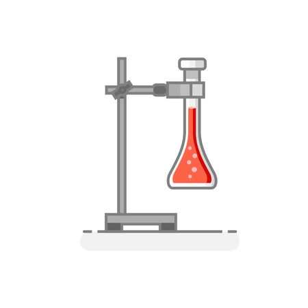 Scientific Universal Support with flask containing chemical liquid. Laboratory materials and glassware icon. Flat design concept. Vector illustration.