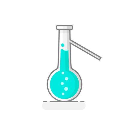 Flacon de distillation scientifique à fond rond avec liquide chimique. Icône de verrerie de laboratoire. Concept de design plat. Illustration vectorielle.