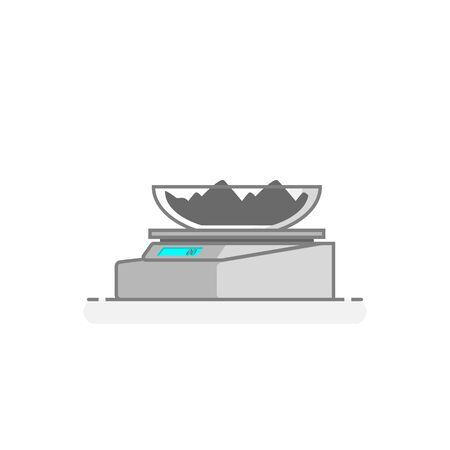 Scientific Digital Balance. Laboratory materials icon. Flat design concept. Vector illustration.
