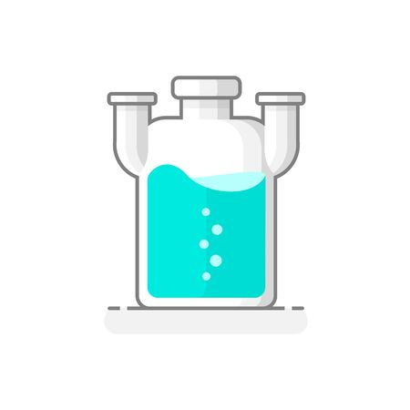 Scientific Wolf Bottle with chemical liquid. Laboratory glassware icon. Flat design concept. Vector illustration.