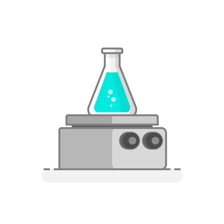 Scientific Heating Plate. Laboratory glassware icon. Flat design concept. Vector illustration.