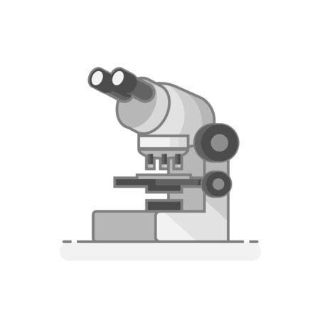 Scientific Microscope. Laboratory materials icon. Flat design concept. Vector illustration.
