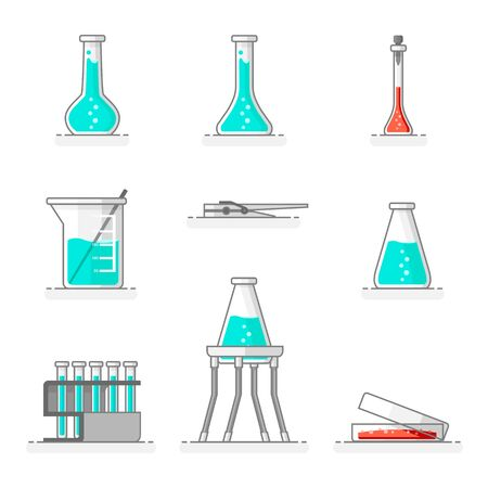 Scientific set of laboratory glassware, materials and tools as a flask, baker and shaker, tweezers, rack of pipe tubes, universal support and petri dish. Flat line design concept. Vector illustration.