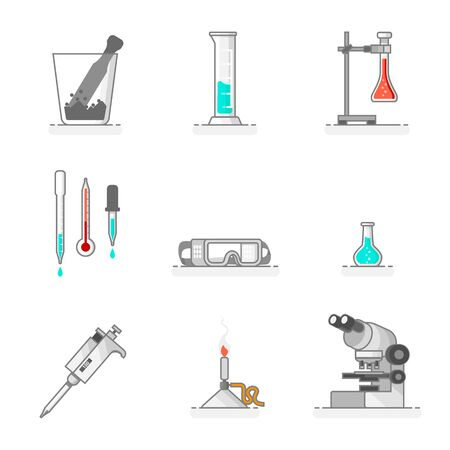 Scientific set of laboratory glassware, materials and tools like glass mortar, micropipette, dropper, thermometer, safety goggles, graduated cylinder, universal support and flask. Flat line design concept. Vector illustration.