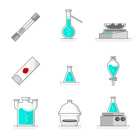 Scientific set of laboratory glassware, materials and tools like a desiccator, wolf bottle, separating funnel, heating plate, glass plate, digital balance, distillation flask, gas meter tube and erlenmeyer flask. Flat line design concept. Vector illustration.