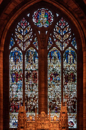 LIVERPOOL, ENGLAND, DECEMBER 27, 2018: Stained glass from interior of the Church of England Anglican Cathedral of the Diocese of Liverpool. 報道画像