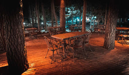 Night scene of wooden deck of an elegant outdoor bar, illuminated by small lamps in the trees that rise over the terrace Imagens