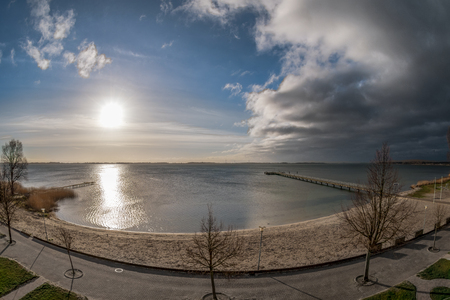 View of the beach on the island of Ruegen on the Baltic Sea. Concept: postcards or vacation and travel