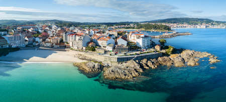 Aerial view of an empty beach in Portonovo in the Ria de Pontevedra, Spain.
