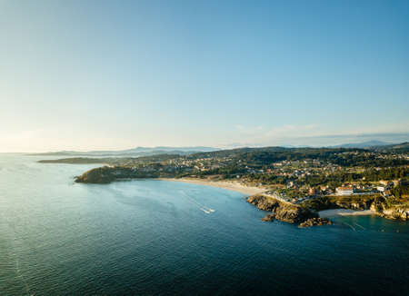 Aerial view of the Galician coast at the opening of the Ria de Pontevedra, were the Atlantic ocean meets the land.