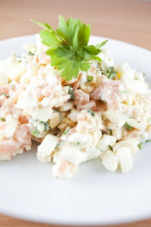 Low fat salad with salmon peases  photo