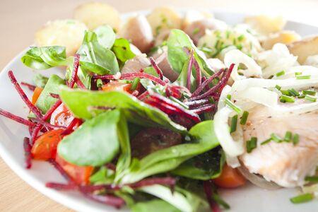 Salat und gegrilltem Lachs withsome frischen Kräutern - Ducan Ernährung Standard-Bild